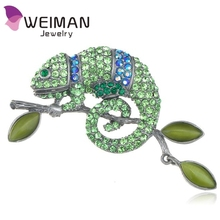 Peridot Green Colored Crystal Rhinestone Chameleon Lizard Brooch
