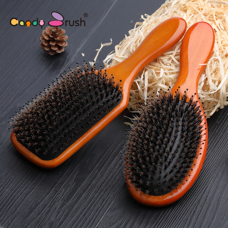 Natural Boar bristle kid Shower Hair brush Baby Bamboo Hair brush