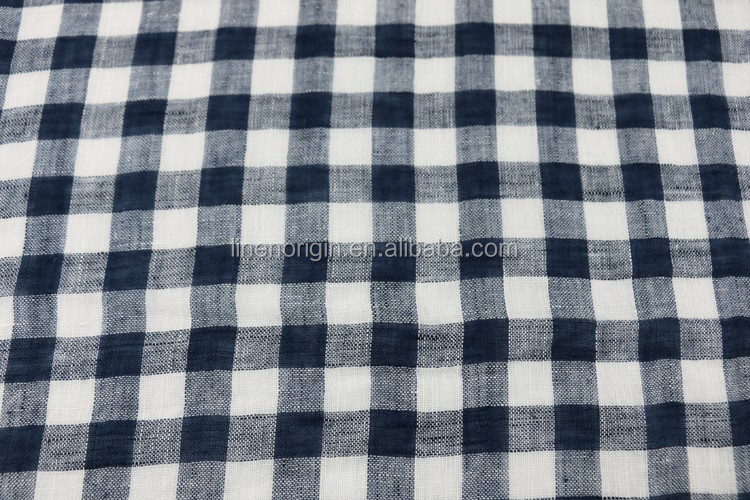 flax linen voile mesh fabric check design