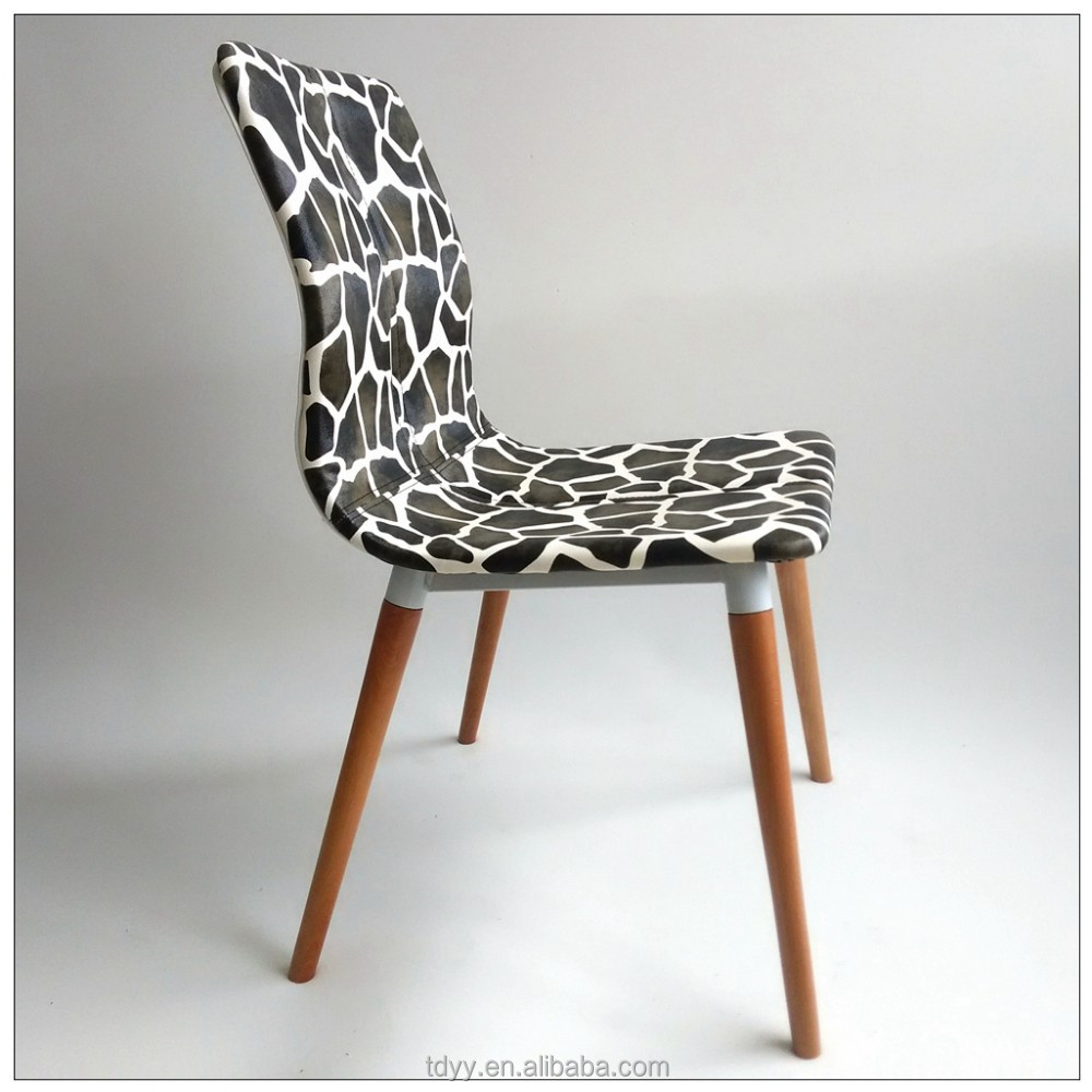 Beech wood round leg nature color zebra print pu leather for Colorful leather dining chairs