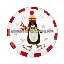 Novelty penguin decorative personalized christmas ceramic plate