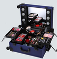 Professional Waterproof Makeup Trolley Cosmetic Case With Lighted Mirror KL-MCL001-BLUE