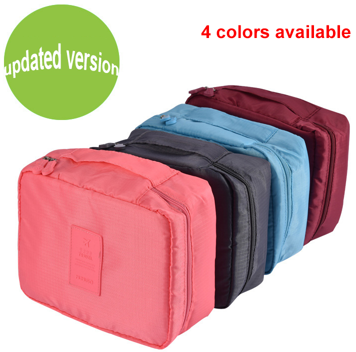 2016 Korean Stylish Women's Travel Insert Handbag Organiser Padded 4 colors Organiser bag wholesale folding travel cosmetic bag
