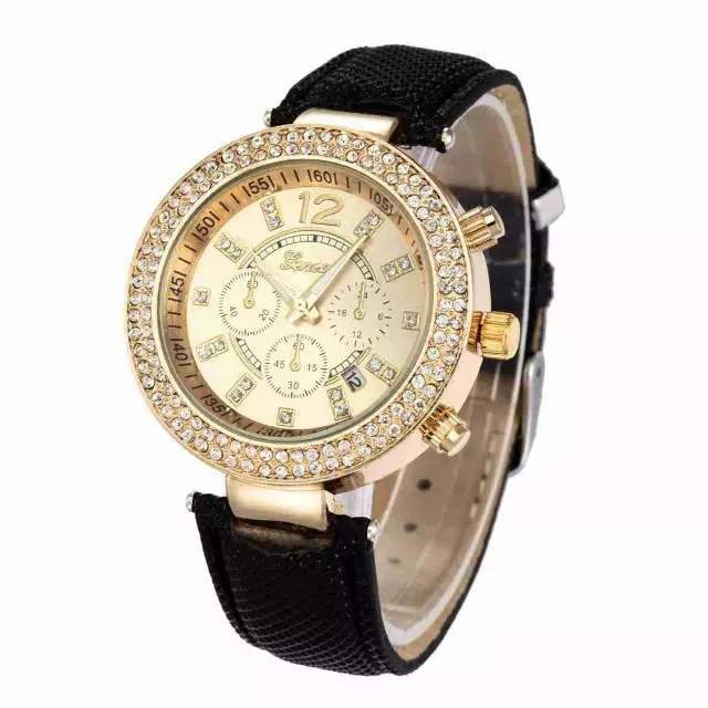 Fashion Quartz Women Brand Watch Casual Leather Band Rhinestones Rose Gold Plated Case Ladies Watches Water Resistant 10 ATM