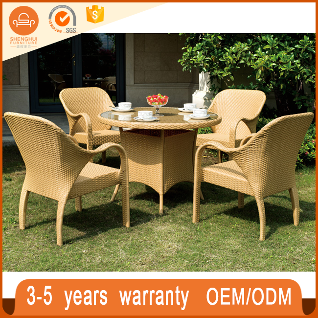 Outdoor furniture modern yellow rattan coffee shop patio dinner table and 4 chairs hotel furniture