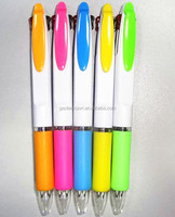 Promotional double refilled ink color plastic ball pen 1000, with soft rubber sleeve ball point pen