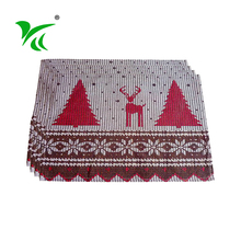 Eco-Friendly woven dark red table placemats and coasters for kids