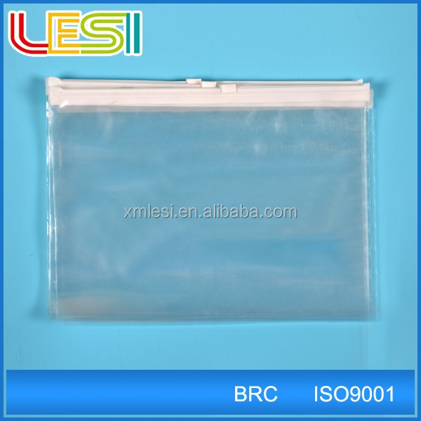 Transparent LDPE zipper file bag for mailing document safe packaging with customized design logo
