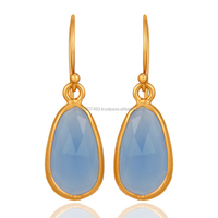 Beautiful Gold Plated Blue Chalcedony Earring, 925 Silver Gold Vermeil Gemstone Bezel Earring Jewelry