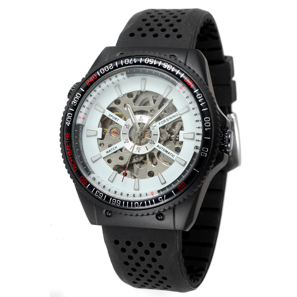 Black rubber strap amazon automatic watch men mechanical movement wristwatches
