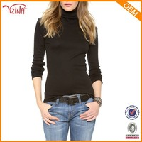 Girls high neck black long sleeve plain t shirts manufacturers in China
