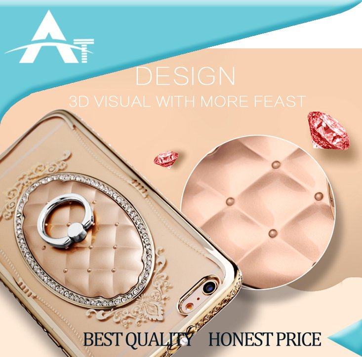 hot fashion tpu back cover case for apple iphones with diamond holder phone case