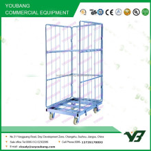 2015 hot sell heavy duty zinc collapsible wire mesh three side warehouse roll container with wheels (YB-L002)