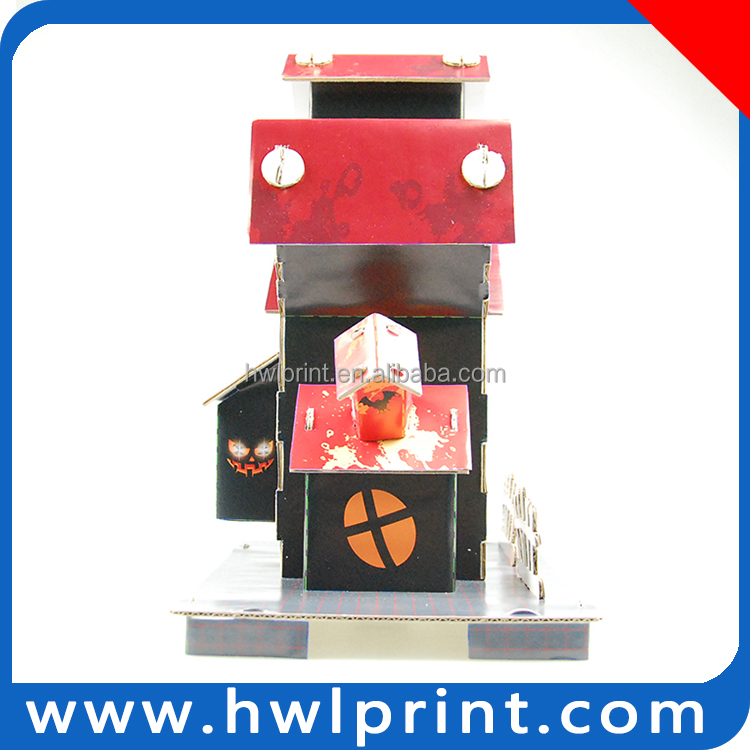 Promotional wholesale castle toy educational paperboard holloween christmas building ghost house toy
