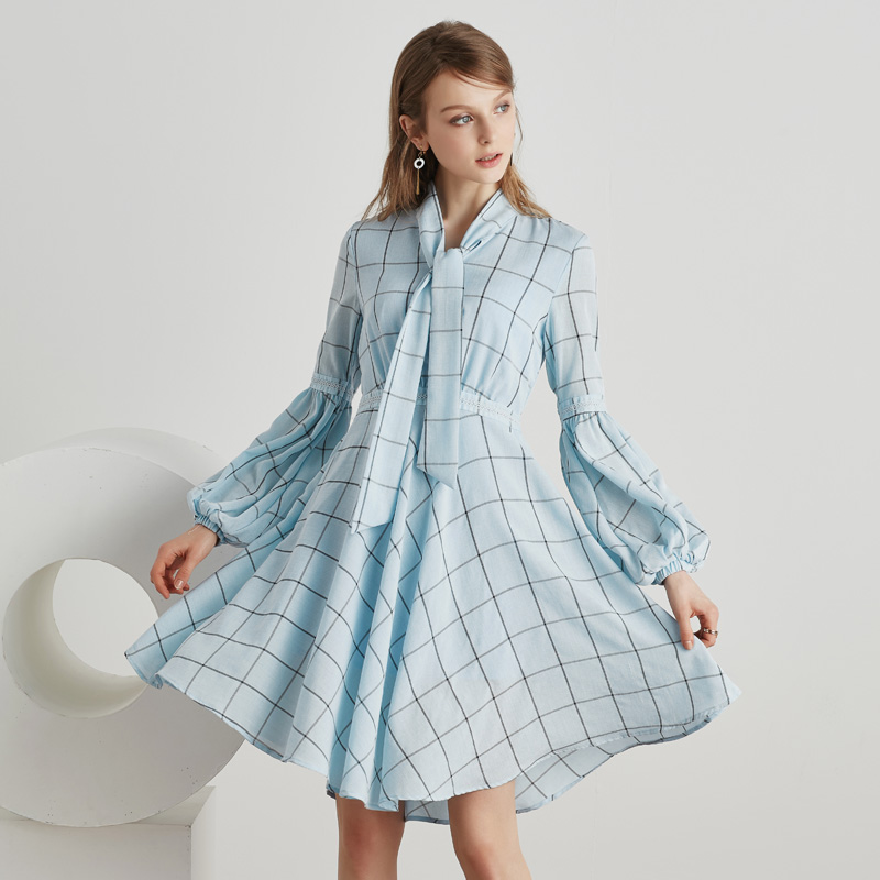 Kongshion spring summer new <strong>dress</strong> vintage plaid ice blue bow knot collar lantern sleeve a line knee length women <strong>dress</strong> 5030