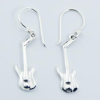 Sterling Silver Dangle Music Earrings With Guitars