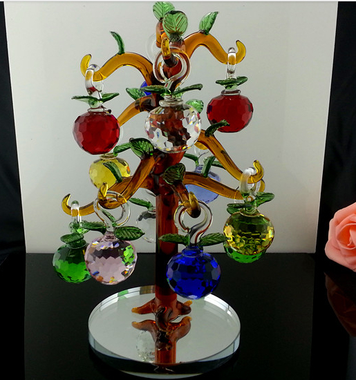 Wholesale crystal glass apple tree for christmas for Apple tree decoration