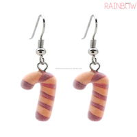 Plushed Candy Cane Christmas Snowman Earring