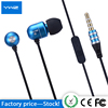 Personalized logo mp3 headphone mobile microphone ear phone china wholesale smart metal earphone