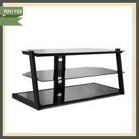 Black glass plasma led tv stand model