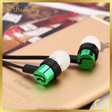 stylish metal earphone for mobile phone, in ear heavy bass headphone with logo