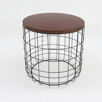 Round wire base glass top contemporary coffee table