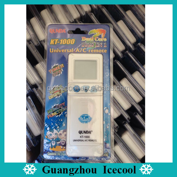 Blister packing 1028 in 1 universal ac remote control for air conditioner qunda KT-1000