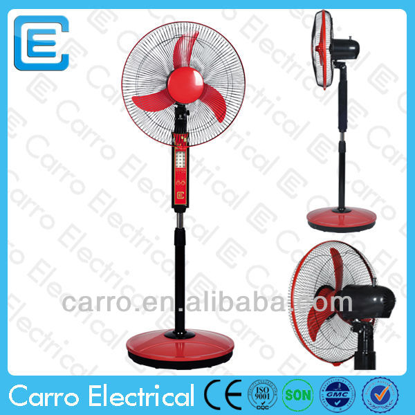 Strong wind ac dc 16'' battery rechargeable stand fan with light
