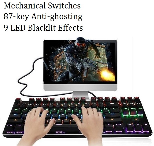 87 key anti-ghosting 9 Preset LED Backlit Effects Metal panel Ergonomic Cheap Blue Black switch Mechanical Keyboard Gaming