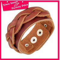 Free sample low price jewelry bracelet charms turkey women summer hot selling wide leather braided bracelet