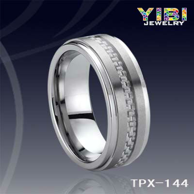 Grey Carbide Fiber Tungsten Ring tungsten accessories for woman poison ring