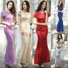 F50444A American fashion women short sleeve backless paillette long wedding bridesmaid evening dress for ladies