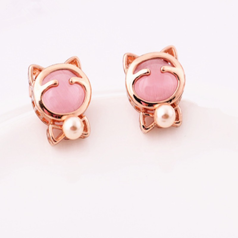 fashion 14k gold plated cute cat Stud Earrings with opal