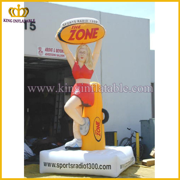 Custom shape inflatable cute girl model, advertising inflatable lady model with pedestal
