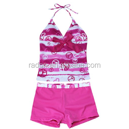 Kids Girl's Heart Print 2 Piece Tankini Swimwear Swimsuit
