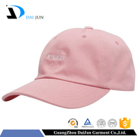 Daijun China factory OEM high quality 100% cotton metal closure pink 2d embroidery custom unstructured snapback caps