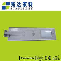 40w Durable high quality rechargeable aluminum solar street lamp lithium