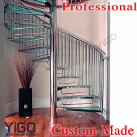 Cast iron spiral stairs /design glass spiral staircase for small spaces for sale