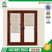 Aluminum profile cheap casement window with blinds