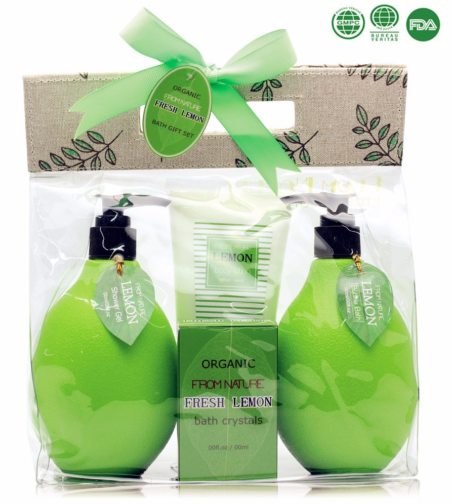 Anti-bacterial Lemon Scented Bath Gift Set Shower Gel Body Lotion Mesh Sponge Packed in PVC window Paper Box