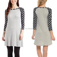 Raglan Dress Wholesale Custom Grey Simple Design Vintage Fashion Women Long Tunics Polka Dot Sleeve Slim Fit Shirt Shift Dress