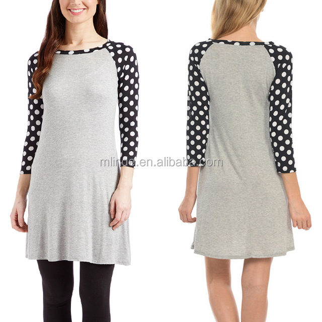 Raglan Dress Wholesale Custom Grey Simple Design Vintage Fashion Women Long Tunics Polka Dot Sleeve Slim Fit Shirt Shift Dress