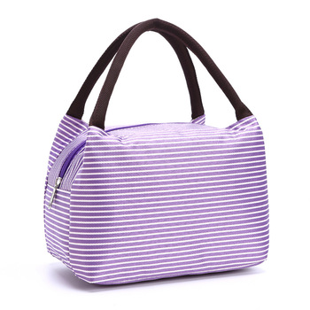Wholesale canvas lunch box satin stripe portable waterproof picnic lunch bag