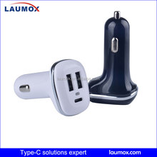 Wholesale price mini car charger Type c charge with type c and 2*USB A output