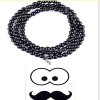 wholesale new fashion jewelry hip hop style personalized design good wood long chain beard pendant necklace