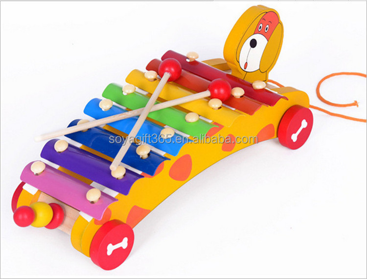 Children Wooden Knock piano Dog Musical Instrument Wooden Toys