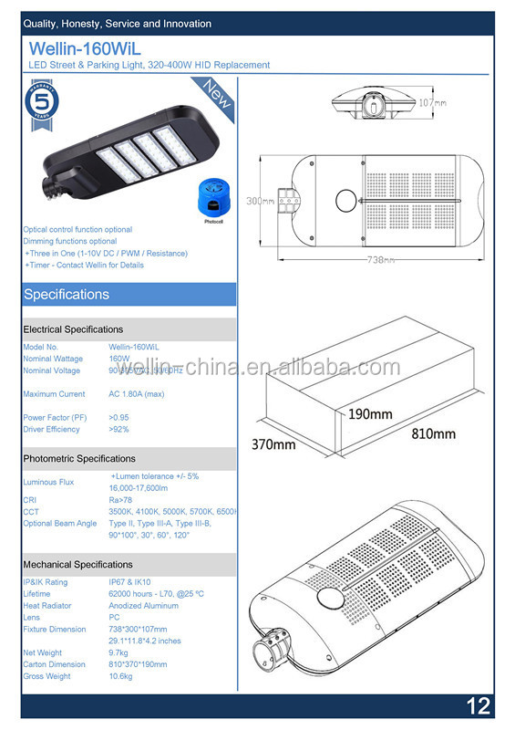 2015 High Lumen Factory Price 150w LED Street Light with UL CE ROHS Approved