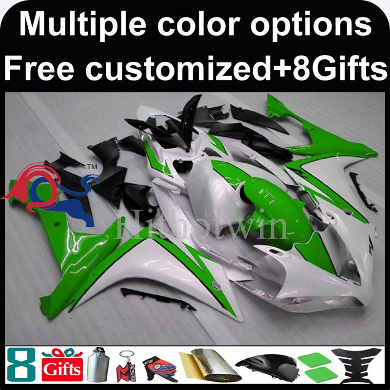green white motorcycle cowl for Yamaha YZF-<strong>R1</strong> 2007-2008 07 <strong>08</strong> YZFR1 2007 2008 07-<strong>08</strong> ABS Plastic <strong>Fairing</strong>