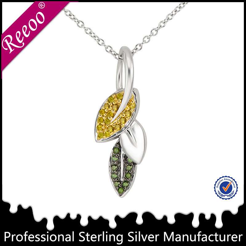 Gold jewellery, 1 gram gold jewellery, leaf design silver pendant jewelry