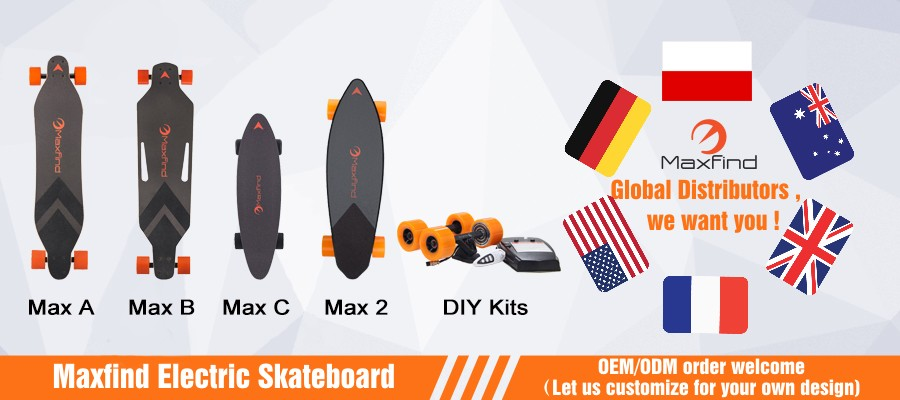 EU warehouse shipping Maxfind mini electric skateboard with 36v 2.2ah LG baterry